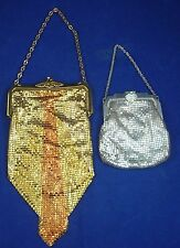 Vintage WHITING & DAVIS MESH PURSE Satin Small Gold Silver Retro Bag Clasp Chain