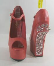 "Privileged CORAL stones/spike 7"" high wedge heel 2.5"" platform shoes.Size  10 P"