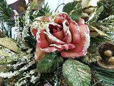 Christmas Snow Frosted Arch Swag Roses, Apples, Bird Nest Vintage Home Interiors