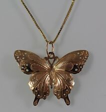 Lovely Large Size Vintage 14k Yellow Gold butterfly pendant