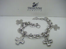 Swarovski Swan Signed SilverTone Cross Charm Bracelet~NEW~BOXED!!!