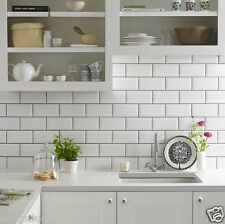 GLOSS WHITE METRO VICTORIAN STYLE BEVELLED BRICK KITCHEN WALL TILES 10 X 20CM