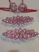 Egyptian Belly Dance Costume bra & Belt Set Professional Dancing Red Sllver