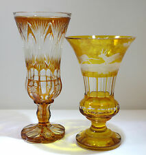 Bohemian Amber Color Cut Glass Pair of Flower Vases 20th Century