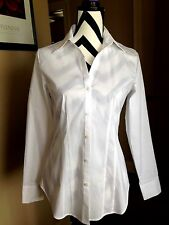 Paper White New Solid White Blouse Cotton Blend Long Sleeve  Size 4  D22
