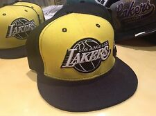 Los Angeles Lakers SnapBack Yellow Black Hat Cotton NBA One Size Basketball Cap