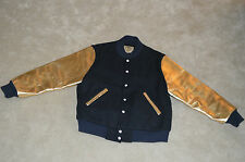Billionaire Boys Club Navy Blue / Gold Leather Sleeve Bomber Coat Jacket Mens XL