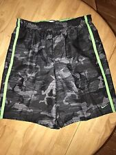 NEW Nike Mens Shorts Lime Green Side Stripe Camo In Black And Grey LG $58.00