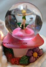 RETIRED DISNEY TINKER BELL on PINK MUSHROOM MINI SNOWGLOBE TINKERBELL