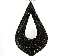 Fine Pear Black Diamond Cluster Drop Dangle Pave Earrings 14K White Gold 4.16Ct