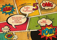 Personalizzato Libro Di Fumetti stile Inviti Festa Compleanno 8cards Confezione