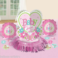 23 Piece Little Pink WELCOME Baby Girl Shower Party Table Decorating Kit
