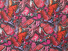 Butterfly Dramatic Butterflies Red Cotton Fabric FQ