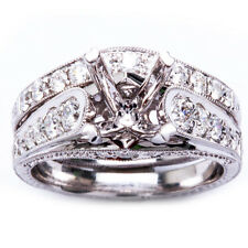 .92ct 18K Round Brilliant Diamond Antique Semi Mount Engagement Ring Wedding Set