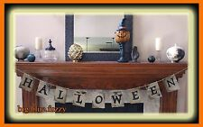 NEW~ HAPPY HALLOWEEN~ BANNER MANTLE SCARF BURLAP PARTY DECORATION 6 ft