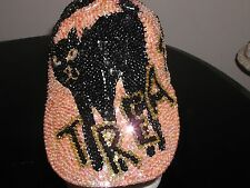 GLITTERING SEQUIN HALLOWEEN BLACK CAT TRICK / TREAT BASEBALL CAP HAT COSTUME NEW