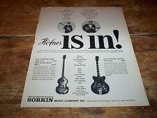 THE BEATLES / Paul McCartney ( HOFNER BASS ) 1967 Vintage U.S. Magazine Ad NM-