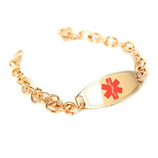 MyIDDr - Engraved Diabetes Type 2 Medical Bracelet Steel Rose ID & O-Link Chain