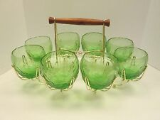 Set 8 Green Crinkle Roly Poly Barware Glasses & Retro Carrier Cradle Mid Century