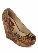 London Rebel Open Toe Wedge Heel, Natural Snakeskin Print Finish, Size UK 7