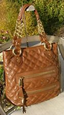 Authentic MJ Marc Jacobs Quilted Brown Leather Hobo Stam Bag