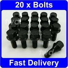 20 x BLACK ALLOY WHEEL BOLTS FOR BMW 3-SERIES E21 E30 E36 E46 M3 LUG NUTS [HB7]