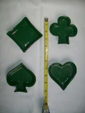 Set of 4 Green Ceramic Snack/Nut Bowls/Dishes for Card Games - Heart Spade Club
