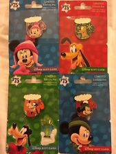 Disney Pin Holiday Gift Card 2016 Mittens Christmas 4 Pin Set Cards Have No Valu