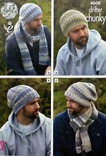KNITTING PATTERN Mens Easy Knit Hats and Scarves Drifter Chunky King Cole 4608