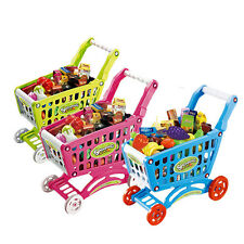 Top Useful Childrens Shopping Trolley Cart Role Play Set Toy With Plastic Food