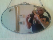 DELIGHTFULLY ENCHANTING 1930's ART DECO OVAL STEEL CRESTED CHROME FRAMED MIRROR