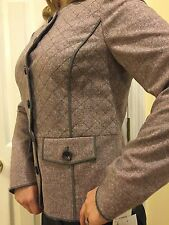 Worth New York Rose Mist And Smoke Tweed Quilted Jacket Wool Blend $598 Sz 12