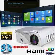 FULL HD 1080p 5000 Lumens 3D LED Home Cinema Theater Projector HDMI USB US STOCK