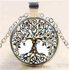Living Tree of Life Glass Cabochon Tibet Silver Chain Pendant Necklace