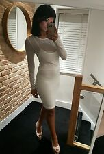 Stunning White Tight Long Sleeved Double Layered Wiggle Midi Dress! Size 12