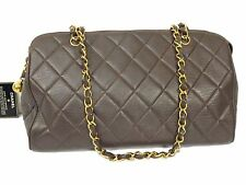 AUTH CHANEL BROWN LAMB LEATHER QUILTED SHOULDER CHAIN BAG GHW T15