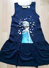 H&M Eiskönigin Frozen Sommer Kleid Blau Elsa 134 140 Neu