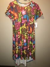 Lularoe Carly XSmall Brown With Multi Colored Flower Major Unicorn Alert #549