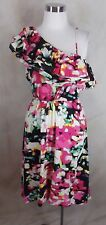 New H&M One Shoulder Dress Size 4 Tiered Ruffle Multi Color Print