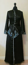 Antique/Vintage 1930's Black Silk Chinoiserie Evening Gown - Sz 8 - 10
