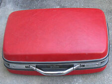 Vintage Samsonite Silhouette RED Chrome Handle Suitcase Luggage Polka Dot Lining