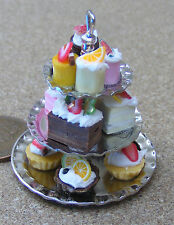 1:12 Metal 3 Tier Stand With Assorted Cakes Dolls House Miniature Accessory