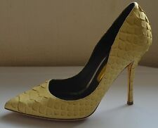 New! Rupert Sanderson Elba Pump Yellow Snakeskin High Heel UK4/EU37