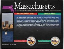 2000 P & D Massachusett Colorized State Quarters, in Display Card No COA.