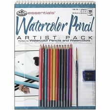 ART SET Spiral Bound A4 Watercolour pad 12 soluble colour pencils & brush RD503