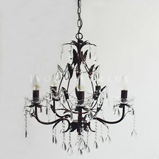 French Provincial Leaf Chandelier Black Copper CELINE Glass Crystals 5 Light
