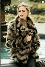 NEW NEXT glamorous luxurious Chevron Faux fur coat size 10 or 14 seen on TV