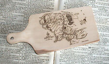Middle Earth chopping cutting board lord of the rings art solid birch wood