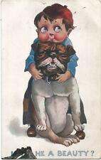 Dogs, Boy with a Big Bulldog, Isn't  He a Beauty?, Funny Old Postcard