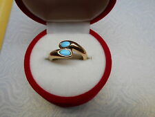 14K GOLD SLEEPING BEAUTY TURQUOISE BYPASS RING Sz7 NEW W/OUT TAGS NOT SCRAP